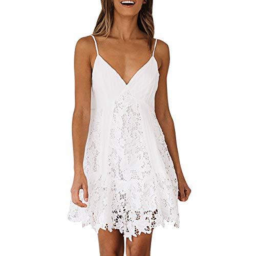 MAYOGO Sommerkleid Damen Kurz Sexy Spitzen Weiß Hollow Out Spagettiträger Minikleid Elegant Schick Tiefer V-Ausschnitt Rückenfrei Sommer Casual Empire Kleider