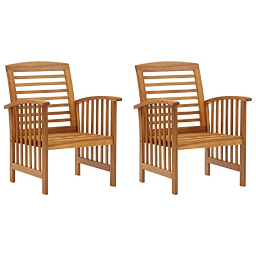 vidaXL 2X Solid Acacia Wood Garden Chair Outdoor Patio Balcony Terrace Furniture Wooden Armchair Dining Dinner Lounge Seating Chairs