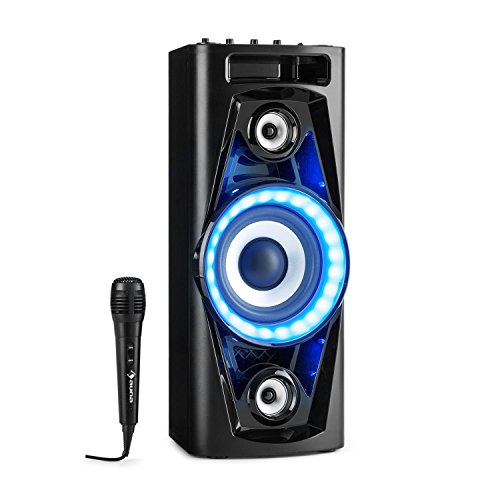 AUNA UltraSonic Pulse V6-40 - Altoparlante Karaoke, Woofer da 5,5'(14 cm), Woofer da 2 x 1,7' (4,5 cm) Alto/Medio, 40W RMS, Bluetooth, 2 x USB, FM, Microfono, Batteria, Nero