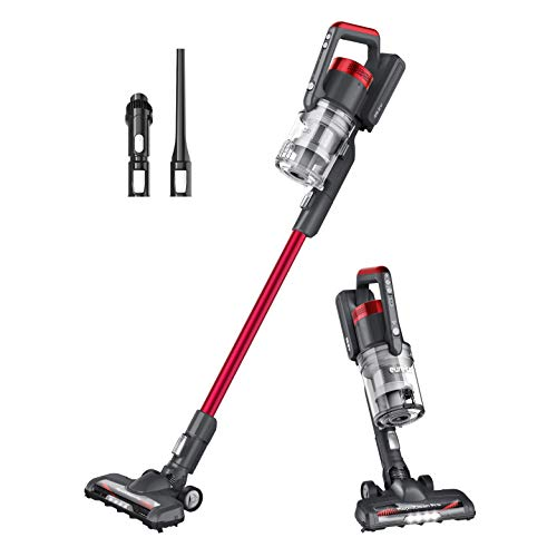 EUREKA LED Headlights, Efficient Cleaning with Powerful Motor Lightweight Cordless Vacuum Cleaner, Convenient Stick and Handheld Vac, Red