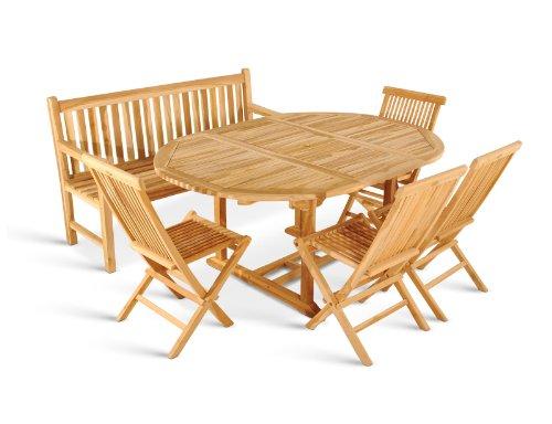 SAM® Teak Holz Gartengruppe Borneo, Gartenmöbel 6tlg, Sitzgruppe aus 1 x Auszugstisch + 4 Klappstuhl Menorca + 3er Sitzbank Caracas