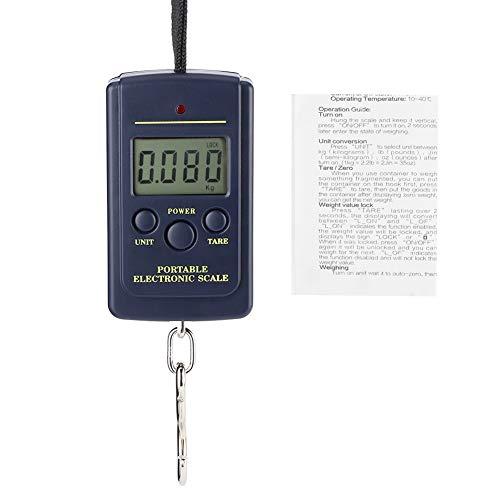 Atyhao Báscula electrónica de precisión de plástico de 40Kg-10G con Cuerda para Colgar Báscula LCD portátil con Gancho Básculas multifunción en cocinas, Salas de Correo u oficinas