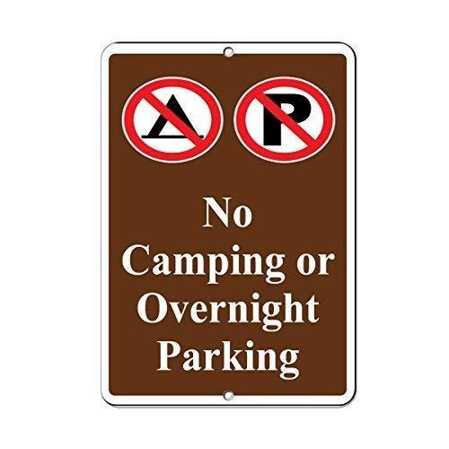 IUBBKI Metal Sign Great Aluminum Tin Sign No Camping Or Overnight Parking Parking Sign 8 X 12 Inch