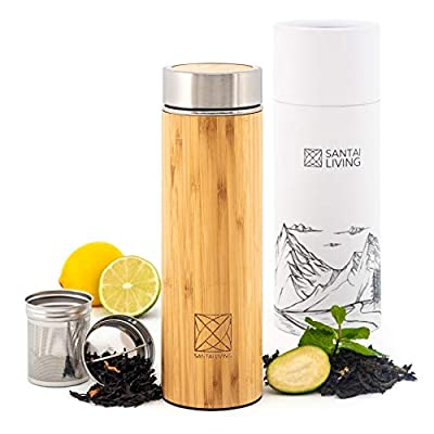 Santai Living Premium Bamboo & Stainless Steel Vacuum Insulated Thermo Bottle with Infuser & Strainer | 500ML Double Walled Coffee, Tea & Fruit infuser Tumbler Flask | BPA free Water bottle