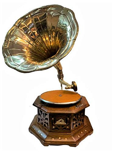 Antique Museum Six Corner Cabinet Wooden Carving Art Desk Décor {HMV} His Master Voice The Gramophone Co. Brass Horn Vintage Turntable Antique Machine Musical Box Phonograph A3BG 021