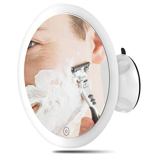 Vergrößerungsspiegel mit Saugnapf - Kosmetikspiegel LED mit Saugnapf und 5-fach Vergrößerung - Kosmetikspiegel mit Beleuchtung - soft touch und stufenlos dimmbar - Kosmetikspiegel Licht