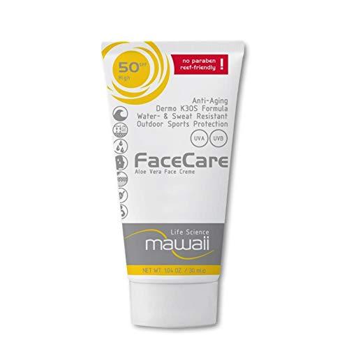 mawaiiFaceCare SPF 50 - wasserfeste und schweissresistente Sonnencreme für das Gesicht, reef-friendly, ideal für Wassersport und Outdoor-Sport, Anti-Aging Sonnenschutz, ohne Parabene (1 x 30ml)