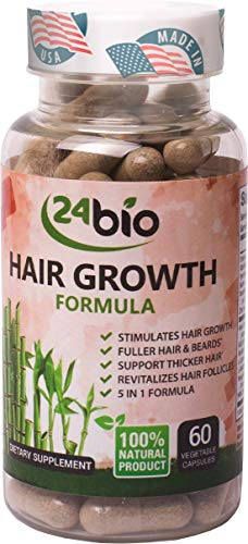 24bio Hair Growth Supplement Stimulates Growth & Supports Thicker Hair, Anti Hair Loss Treatment,Multivitamin Complex Pills, Biotin 1000mcg, Bamboo Extract Enhancer,Thiamine, Amla Extract, 60 Veg Cap