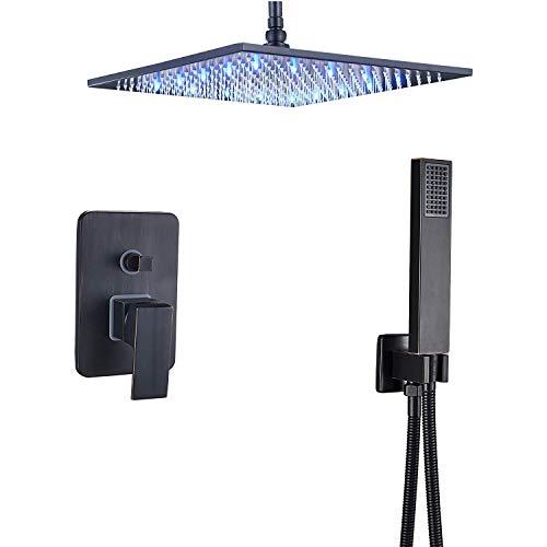 TVTIUO Sistema doccia a incasso set doccia con montaggio a soffitto 12 pollici soffione doccia LED, doccetta,nero