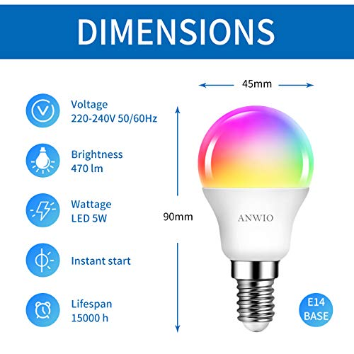 ANWIO AN-G45-2 WIFI DIM+CCT+RGB 5W E14 X-Y