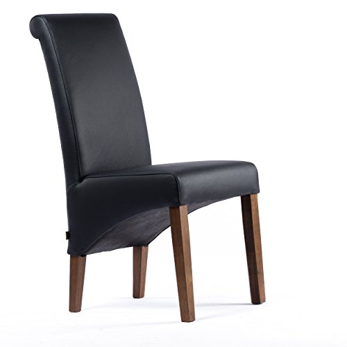 Lederstuhl Felice Leder Schwarz Stuhlbeine Nussbaum Lederstühle Stühle Stuhl NEU