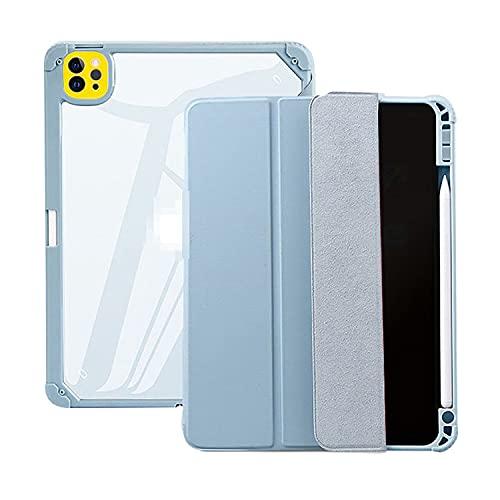 iPad Pro 11インチ用 第3世代(2021モデル) ケース 手帳型 耐衝撃 衝撃吸収 ペン収納 背面クリア 保護ケース タブレットカバー 上質PUレザー アイパッドプロ 11インチ 手帳型カバー おしゃれ タブレットケース カバー(ブルー)