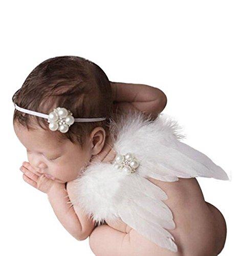 TININNA Baby Kinder Foto Fotografie Outfits Kostüm Engelsflügel Flügel Neugeborene Kostüm Haarband weiß EINWEG Verpackung