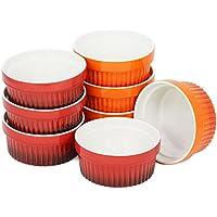 com-four® 8x Ragout Fin Bowl - XXL Postre bowl en naranja y rojo - Creme Brulee cuencos cada 260 ml