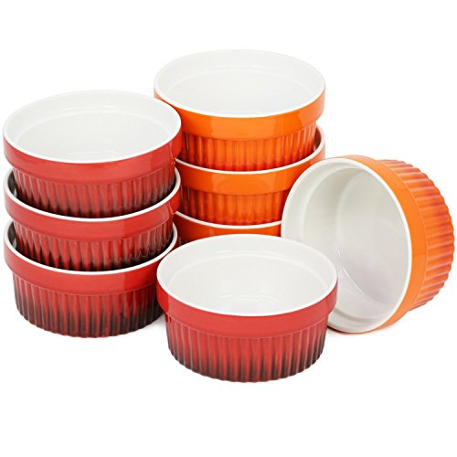 COM-FOUR® 8x Ragout Fin kom - XXL dessertkom in oranje en rood - Creme Brulee kom, elk 260 ml