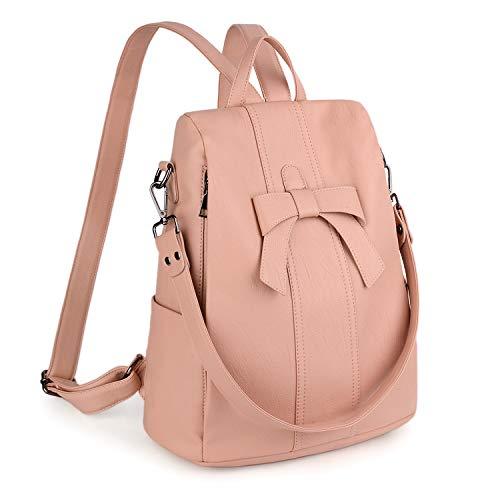 UTO Anti-Theft Women Backpack 3 Ways Convertible Ladies Rucksack Shoulder Bag Handbag PU Washed Leather Bowknot Decoration Light Pink