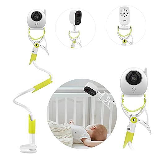 MYPINSoporte Cámara de Bebé, Soporte Vigilabebés para Cuna Ajustable sin Perforación, Giratorio de 360 °,Compatible con la Mayoría de Vigilabebés/Teléfonos Móviles (Verde)