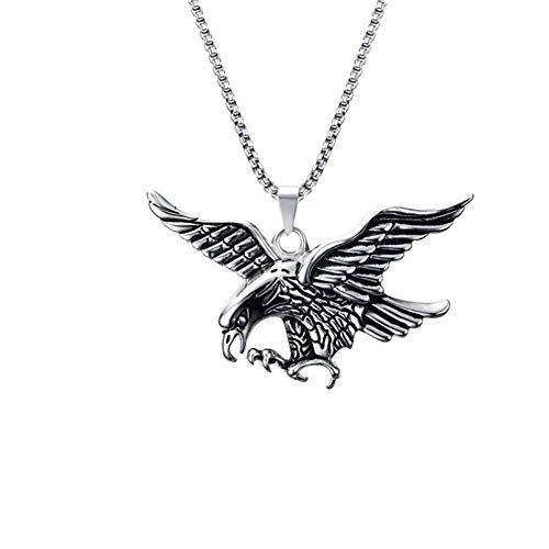 YAMAO Hombre Collar,Collares para Hombre Acero Inoxidable Águila voladora Colgante Gargantilla Hombre Hiphop Biker Moda Animal Joyería