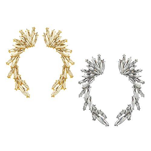 Harilla 2 Pares de Pendientes Trepadores de Orugas con Forma de Hojas de árbol de Diamantes de Imitación