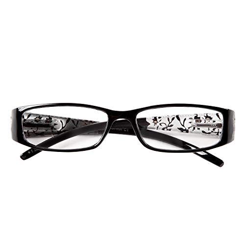 プレピア New CrystalFlower101 バネ丁番採用 シックでオシャレな落ち着いた女性向きの花柄老眼鏡 持ち歩きにも邪魔にならないソフト眼鏡ケース付き[PrePiar](ブラック101,+25)