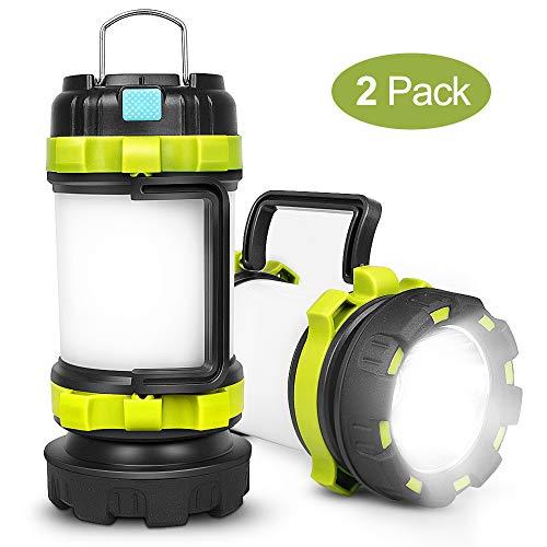 yotutun Camping Lantern Rechargeable Lantern Flashlight LED with 800LM6Light Modes3800mAh Power Bank IPX4 WaterproofPerfect for Camping Light HurricaneEmergencyHikingOutdoor 2 Pack