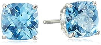 Sterling Silver Cushion-Cut Checkerboard Swiss Blue Topaz Stud Earrings  6mm