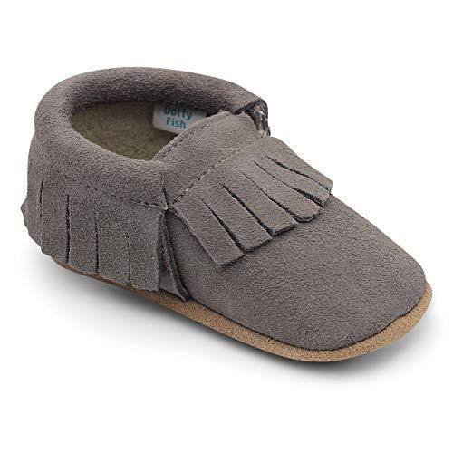 Dotty Fish Mokassins. Wildleder Babyschuhe mit weicher Sohle. rutschfest. Kinder Kleinkinder erste Schuhe. Jungen Mädchen. Grau. 12-18 Monate (21 EU)