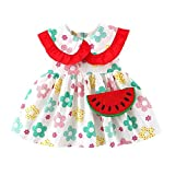 Fomino Vestido de verano para niña, línea A, manga corta, cuello de muñeca, flor, sandía, vestido de princesa + bolso bandolera, linda niña estampado de frutas rojo 90 cm