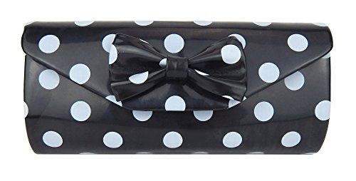 Ella Jonte Tasche schwarz Rockabilly hellgraue Punkte Handtasche Retro Clutch