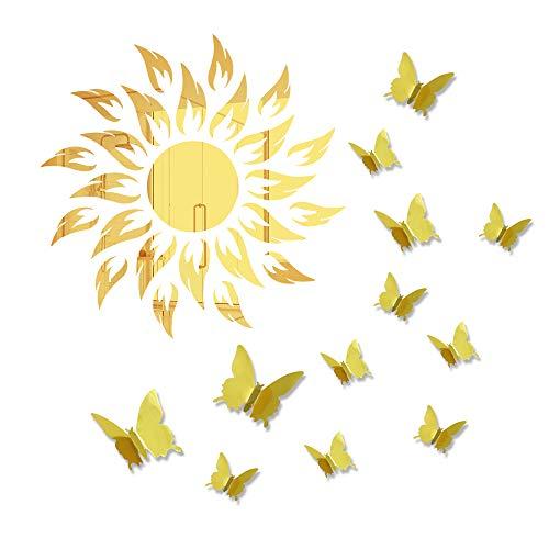 Adesivo da parete a forma di fiore del sole, 3D, con farfalla di lusso, autoadesivo, decorazione per la casa, in acrilico, rimovibile, per soggiorno, camera da letto, TV sfondo specchio (oro)