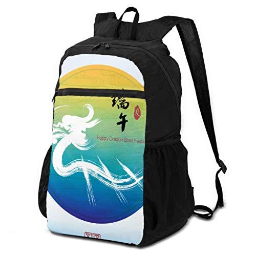 Damen-Wanderrucksack mit chinesischem Drachenboot, Festival, chinesischer Packbarer Rucksack zum Wandern, Tagesrucksack für Reisen, leicht, wasserdicht, für Damen und Herren