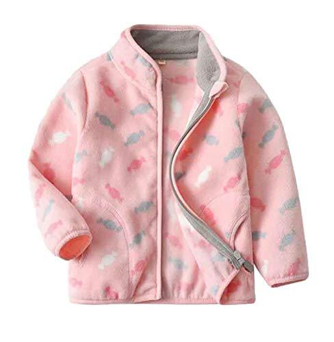 Nemopter Mädchenmantel Girl's Full-Zip Polar Fleece Jacket Mädchen Fleecejacke für Kinder mit Stehkragen 1-10 Jahre Gr. 4-5 Jahre, Bonbon, Rosa.