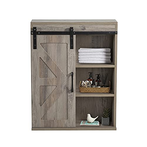 Rustory Rustic Wooden Wall Mounted Storage Cabinet with Sliding Barn Door, Decorative Farmhouse Vintage Cabinet for Kitchen Dining, Bathroom, Living Room (Washed Oak)