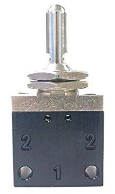 Pneumadyne C042601, 3-Position Toggle Valve, 2-Way, 1/8 NPT (F) Ports, Detented Actuation by Pneumadyne
