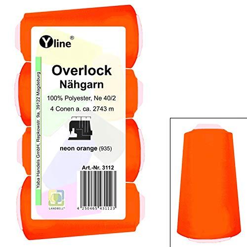 4 stuks spoelen overlock - naaigaren, neon oranje, a. 2743 m, NE 40/2, 100% polyester, naaigaren, naaimachines garen, 3112