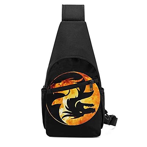 DJNGN Yin Yang Symbol Mehrzweck-Umhängetasche für Reisen Brustwander-Tagesrucksack für Männer und Frauen