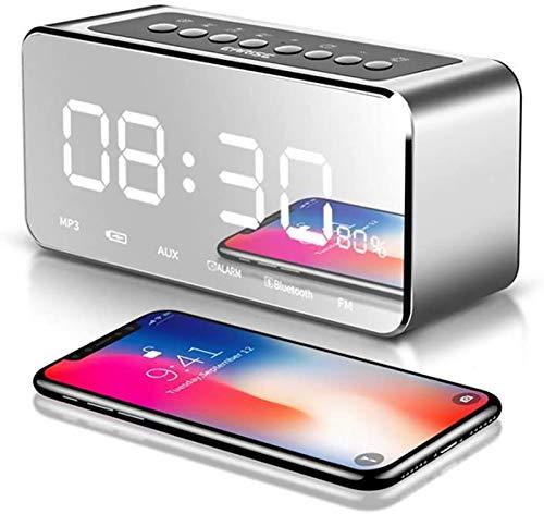FENGCLOCK Radio Surface Alarm Clock Digital Alarm Clock LED, Portable Bluetooth Speaker Wireless Mini Radio FM Music Player Speaker Support Card TF,Silver