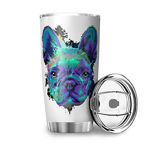 French Bulldog Blue Dog Tumbler Stainless Steel Coffee Cup Double Wall Vacuum Insulated Tumbler with Lid Funny Printed Coffee Mug for Mom Dad white2 20oz
