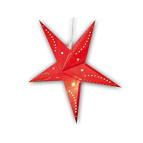 SSITG 3D-kerstster lamp gemaakt van papier, 60 cm, met LED-kaarslamp, rood