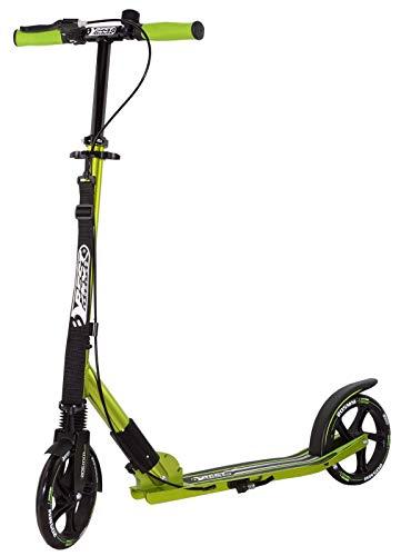 Best Sporting Scooter 205er Rolle High Class, klappbarer City-Roller mit ergonomischem Lenker, Handbremse und Klingel, Tret-Roller (Grün + Tragegurt)
