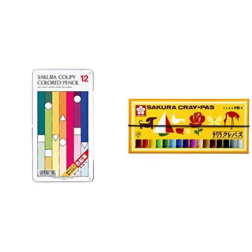 【セット買い】サクラクレパス クーピー色鉛筆 12色 PFY12 & クレパス 16色 ゴムバンド付き LP16R