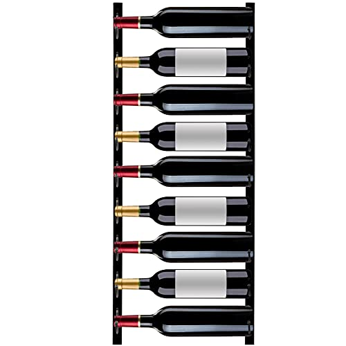 VEVOR Botellero Vertical de Pared 9 Botellas Estante Vertical para Vino 900x150x25 mm Botellero Metálico de Pared Vertical de Acero Q235 con Recubrimiento para Colgar Toallas Botellas de Vino Negro
