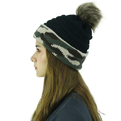 Javntouy Slouch Beanie Mütze Frauen Camouflage Stitching Plüsch Ball Hüte Knit Beanie Cap Gr. Einheitsgröße, Schwarz