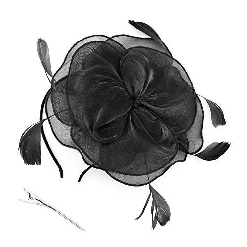 OTOTEC Zwarte Fascinator Hoed Hoofdband Bloem Veer Haaraccessoires met Haar Clip voor Meisjes Vrouwen Bruiloft Thee Party Halloween
