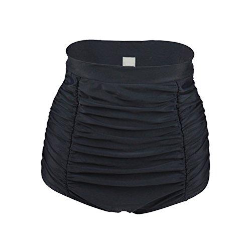 YoungSoul Vintage 50er Rockabilly Kariert Bademode - Bikinislip mit Raffung - Formende Bikinihose mit hohe Taille für Damen Schwarz EU 46-48/Etikettengröße 2XL