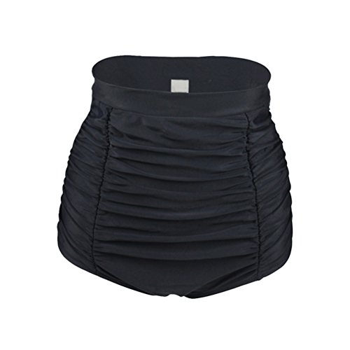YoungSoul Vintage 50er Rockabilly Kariert Bademode - Bikinislip mit Raffung - Formende Bikinihose mit hohe Taille für Damen Schwarz EU 42-44/Etikettengröße XL