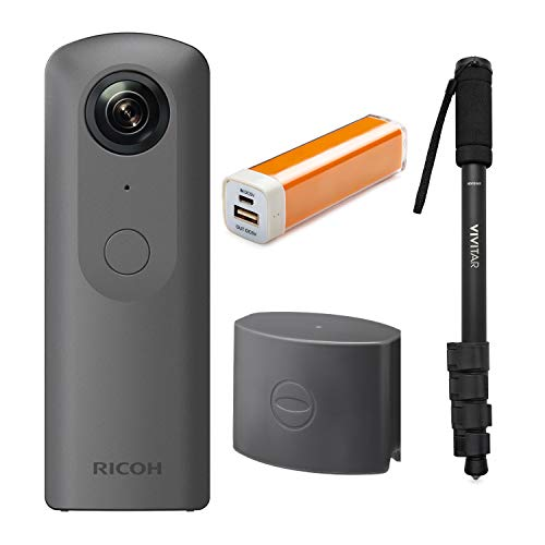 Ricoh Theta V 360 4K Spherical VR Camera W TL-1 Lens Cap + Portable Battery Charger and Monopod Bundle