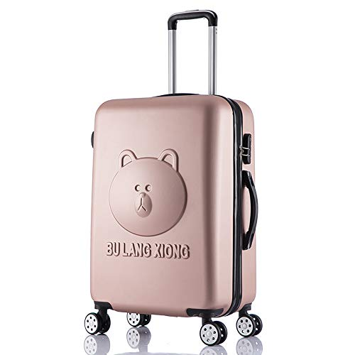 Baiteng Cartoon-Koffer Easy Bear Braun Bär Trolley Rollator Gehaeuse Student Gepäck Password Koffer, Roségold, 50,8 cm