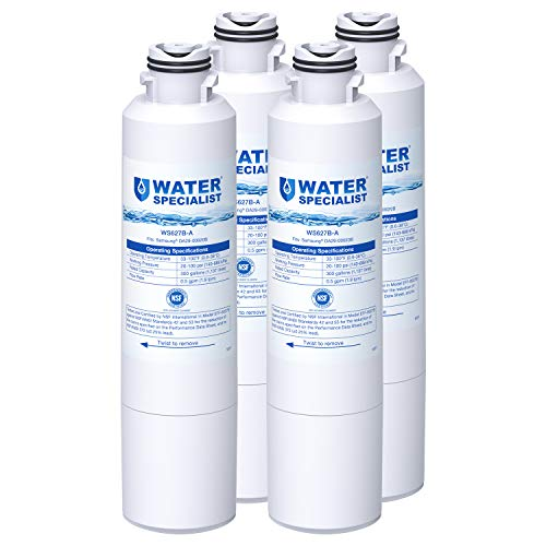 Waterspecialist DA29-00020B Refrigerator Water Filter, Replacement for Samsung HAF-CIN, HAF-CIN/EXP, DA29-00020A/B, DA97-08006A, DA2900020B, RF28HMEDBSR, RF4287HARS, 4 Filters, Package may vary