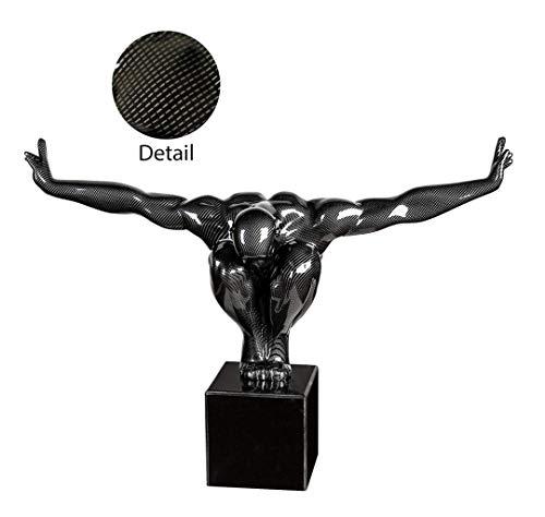 Zahnkönige Deko Wohn Skulptur Cliffhanger | aus Poly/Marmor | schwarz/Silber/Carbon-Effekt | schwarzer Marmorsockel | Dekoskulptur | Höhe: 29 cm Breite: 40 cm Tiefe: 11 cm